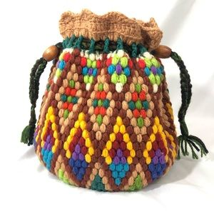 Handbags - Large Handmade Crochet Multicolored Bucket